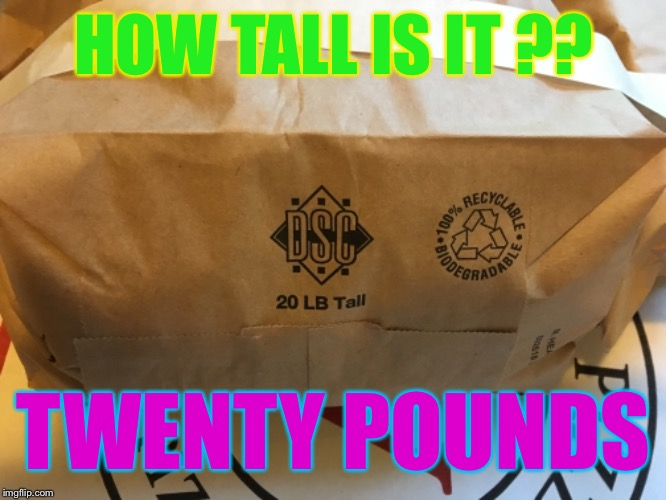 25lbstall | HOW TALL IS IT ?? TWENTY POUNDS | image tagged in datlinx,yung mung,nein gang,bag,memes | made w/ Imgflip meme maker