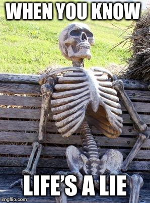 Waiting Skeleton Meme | WHEN YOU KNOW LIFE'S A LIE | image tagged in memes,waiting skeleton | made w/ Imgflip meme maker