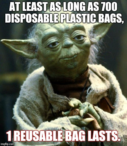 Star Wars Yoda Meme | AT LEAST AS LONG AS 700 DISPOSABLE PLASTIC BAGS, 1 REUSABLE BAG LASTS. | image tagged in memes,star wars yoda | made w/ Imgflip meme maker