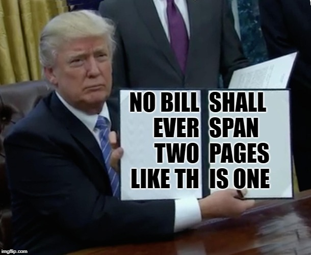 Trump Bill Signing Meme | SHALL SPAN PAGES IS ONE NO BILL EVER TWO LIKE TH | image tagged in memes,trump bill signing | made w/ Imgflip meme maker