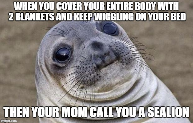 feel like a sealion | WHEN YOU COVER YOUR ENTIRE BODY WITH 2 BLANKETS AND KEEP WIGGLING ON YOUR BED THEN YOUR MOM CALL YOU A SEALION | image tagged in memes,awkward moment sealion,feel like a sealion,stupid stuff | made w/ Imgflip meme maker