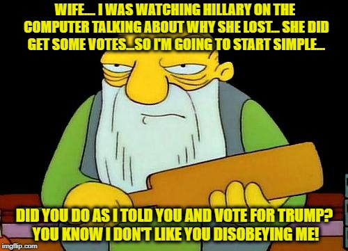 Some folks don't get TV but get news on their computers. Sometimes a bit behind 'real time' but as in the old days weeks later! | WIFE.... I WAS WATCHING HILLARY ON THE COMPUTER TALKING ABOUT WHY SHE LOST... SHE DID GET SOME VOTES...SO I'M GOING TO START SIMPLE... DID Y | image tagged in memes,that's a paddlin',political memes,hillary loses,election 2016 aftermath,donald trump approves | made w/ Imgflip meme maker