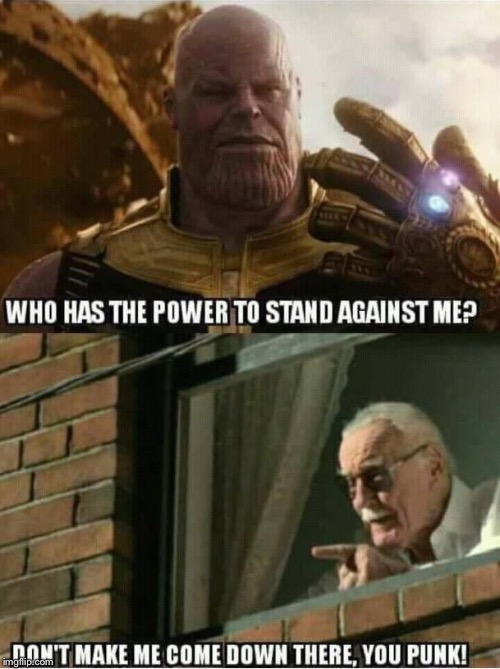 Go Stan Lee! | image tagged in go stan lee,stan lee,thanos,avengers,avengers infinity war,infinity war | made w/ Imgflip meme maker