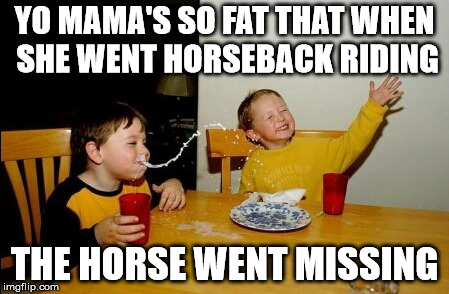 Yo Mamas So Fat Meme | YO MAMA'S SO FAT THAT WHEN SHE WENT HORSEBACK RIDING THE HORSE WENT MISSING | image tagged in memes,yo mamas so fat | made w/ Imgflip meme maker