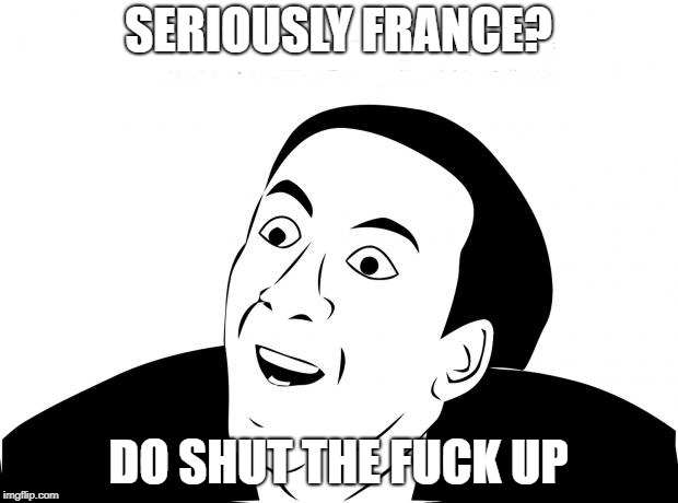 You Don't Say Meme | SERIOUSLY FRANCE? DO SHUT THE F**K UP | image tagged in memes,you don't say | made w/ Imgflip meme maker
