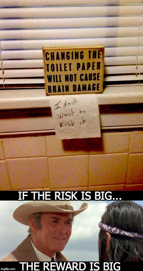 Risky Business | IF THE RISK IS BIG... THE REWARD IS BIG | image tagged in toilet humor,risk | made w/ Imgflip meme maker