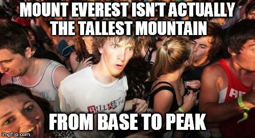 MOUNT EVEREST ISN'T ACTUALLY THE TALLEST MOUNTAIN FROM BASE TO PEAK | made w/ Imgflip meme maker