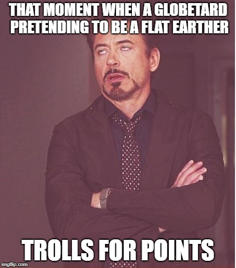 Face You Make Robert Downey Jr Meme | THAT MOMENT WHEN A GLOBETARD PRETENDING TO BE A FLAT EARTHER TROLLS FOR POINTS | image tagged in memes,face you make robert downey jr | made w/ Imgflip meme maker