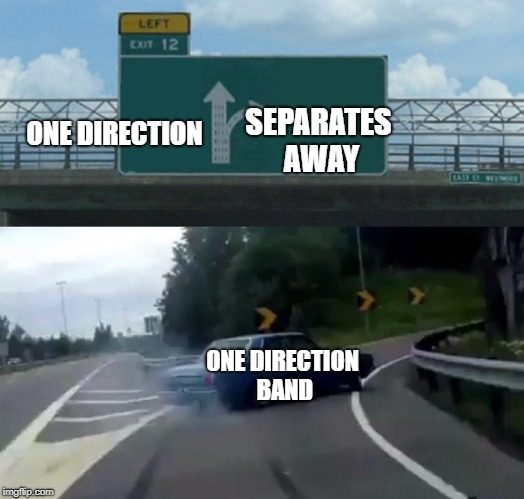 Left Exit 12 Off Ramp Meme | ONE DIRECTION SEPARATES AWAY ONE DIRECTION BAND | image tagged in memes,left exit 12 off ramp | made w/ Imgflip meme maker