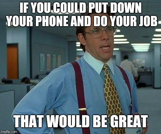 Stop using your phone at work | IF YOU COULD PUT DOWN YOUR PHONE AND DO YOUR JOB THAT WOULD BE GREAT | image tagged in memes,that would be great,cell phone,work | made w/ Imgflip meme maker
