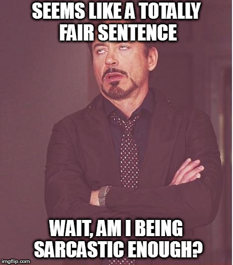 Face You Make Robert Downey Jr Meme | SEEMS LIKE A TOTALLY FAIR SENTENCE WAIT, AM I BEING SARCASTIC ENOUGH? | image tagged in memes,face you make robert downey jr | made w/ Imgflip meme maker