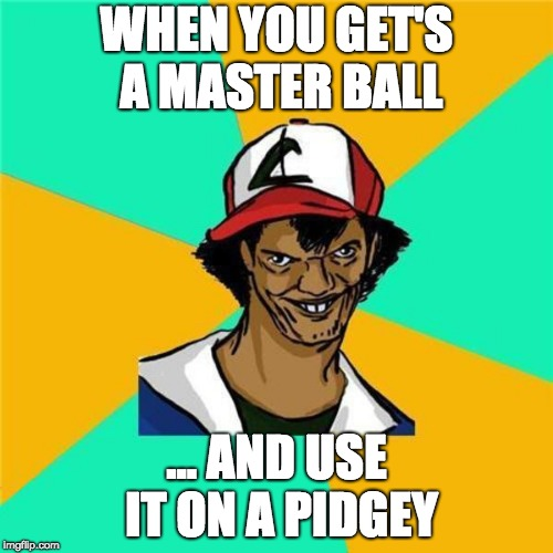 A Long Hard Pokemon Battle | WHEN YOU GET'S A MASTER BALL ... AND USE IT ON A PIDGEY | image tagged in a long hard pokemon battle | made w/ Imgflip meme maker