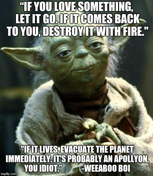 "Star Wars Yoda Meme | ""IF YOU LOVE SOMETHING, LET IT GO. IF IT COMES BACK TO YOU, DESTROY IT WITH FIRE."" ""IF IT LIVES, EVACUATE THE PLANET IMMEDIATELY. IT'S PROBA 