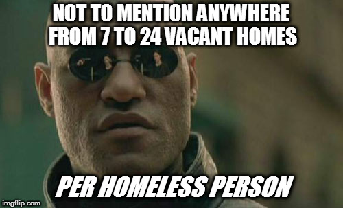 Matrix Morpheus Meme | NOT TO MENTION ANYWHERE FROM 7 TO 24 VACANT HOMES PER HOMELESS PERSON | image tagged in memes,matrix morpheus | made w/ Imgflip meme maker