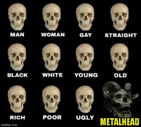The myth says that only the most brutal and powerful of metalheads can grow horns on their skulls  | METALHEAD | image tagged in memes,man woman gay straight skull,powermetalhead,metal,funny,idiot skull | made w/ Imgflip meme maker