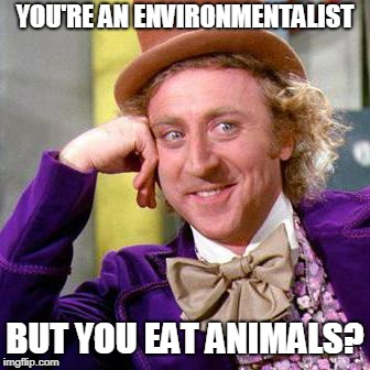 Willy Wonka Blank | YOU'RE AN ENVIRONMENTALIST BUT YOU EAT ANIMALS? | image tagged in willy wonka blank | made w/ Imgflip meme maker