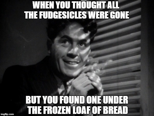 Fudge | WHEN YOU THOUGHT ALL THE FUDGESICLES WERE GONE BUT YOU FOUND ONE UNDER THE FROZEN LOAF OF BREAD | image tagged in madness | made w/ Imgflip meme maker