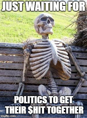 Waiting Skeleton | JUST WAITING FOR POLITICS TO GET THEIR $HIT TOGETHER | image tagged in memes,waiting skeleton,doctordoomsday180,politics,political meme,meme | made w/ Imgflip meme maker