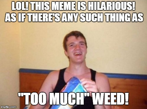 "LOL! THIS MEME IS HILARIOUS! AS IF THERE'S ANY SUCH THING AS ""TOO MUCH"" WEED! 