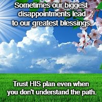 scenic  | Sometimes our biggest disappointments lead to our greatest blessings. Trust HIS plan even when you don't understand the path. | image tagged in scenic | made w/ Imgflip meme maker