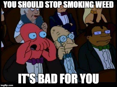 Say no to drugs. |  YOU SHOULD STOP SMOKING WEED; IT'S BAD FOR YOU | image tagged in memes,you should feel bad zoidberg,say no to drugs,weed | made w/ Imgflip meme maker