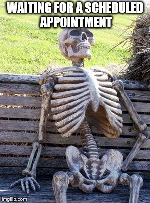 Waiting Skeleton Meme | WAITING FOR A SCHEDULED APPOINTMENT | image tagged in memes,waiting skeleton | made w/ Imgflip meme maker