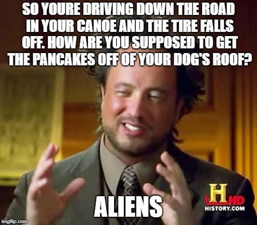 Aliens... Find a Way | SO YOURE DRIVING DOWN THE ROAD IN YOUR CANOE AND THE TIRE FALLS OFF. HOW ARE YOU SUPPOSED TO GET THE PANCAKES OFF OF YOUR DOG'S ROOF? ALIENS | image tagged in memes,ancient aliens | made w/ Imgflip meme maker