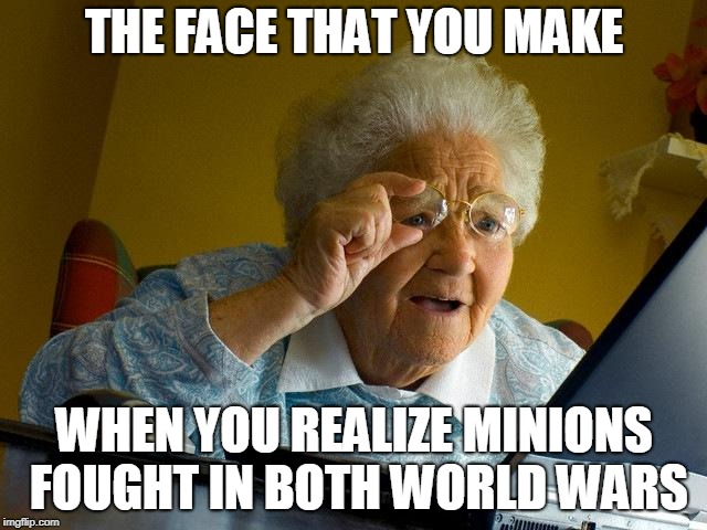 Grandma Finds The Internet Meme | THE FACE THAT YOU MAKE WHEN YOU REALIZE MINIONS FOUGHT IN BOTH WORLD WARS | image tagged in memes,grandma finds the internet,scumbag | made w/ Imgflip meme maker