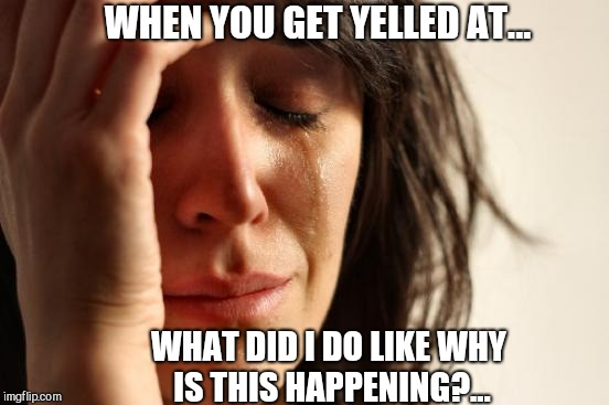First World Problems | WHEN YOU GET YELLED AT... WHAT DID I DO LIKE WHY IS THIS HAPPENING?... | image tagged in memes,first world problems | made w/ Imgflip meme maker