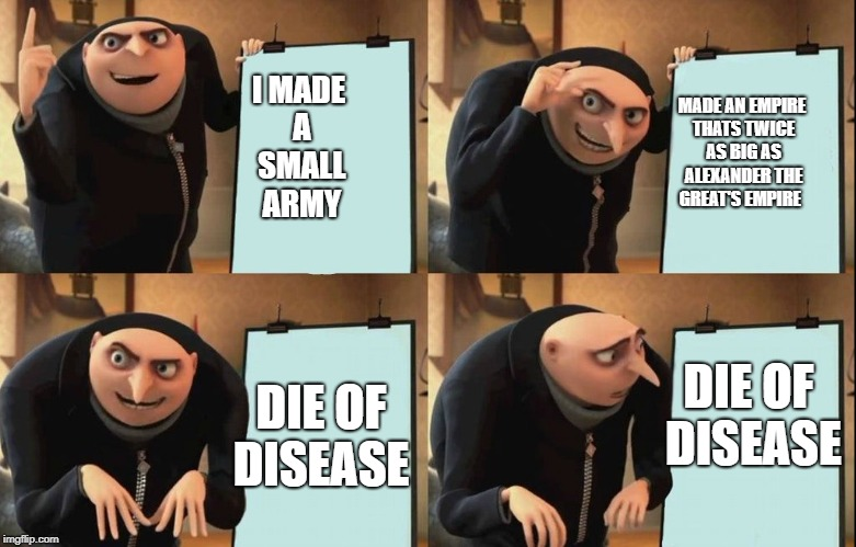 gru khan | I MADE A SMALL ARMY MADE AN EMPIRE THATS TWICE AS BIG AS ALEXANDER THE GREAT'S EMPIRE DIE OF DISEASE DIE OF DISEASE | image tagged in despicable me diabolical plan gru template | made w/ Imgflip meme maker