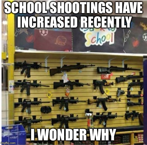 SCHOOL SHOOTINGS HAVE INCREASED RECENTLY I WONDER WHY | image tagged in funny,guns | made w/ Imgflip meme maker