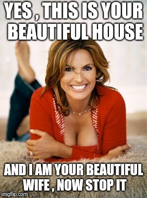 Mariska Hargitay | YES , THIS IS YOUR BEAUTIFUL HOUSE AND I AM YOUR BEAUTIFUL WIFE , NOW STOP IT | image tagged in mariska hargitay | made w/ Imgflip meme maker