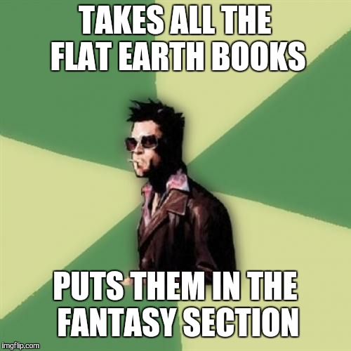 Helpful Tyler Durden | TAKES ALL THE FLAT EARTH BOOKS PUTS THEM IN THE FANTASY SECTION | image tagged in memes,helpful tyler durden | made w/ Imgflip meme maker
