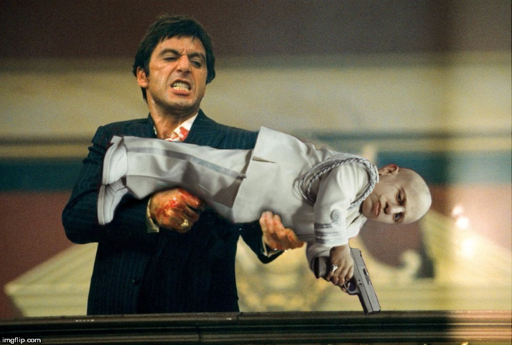 Say hello to my little friend RIP - Verne Troyer | image tagged in mini me,tony montana,tony,montana,al pacino,austin powers | made w/ Imgflip meme maker