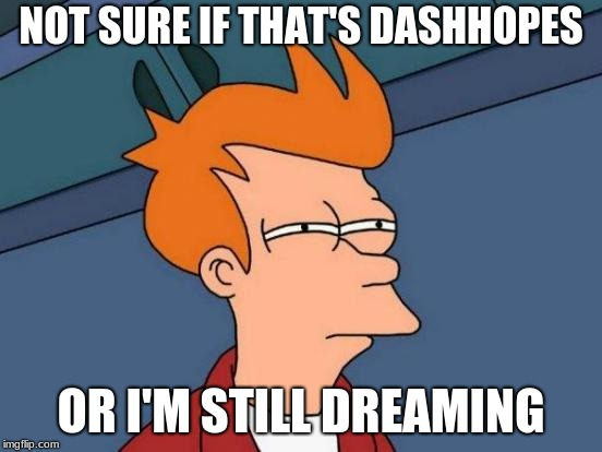 Futurama Fry Meme | NOT SURE IF THAT'S DASHHOPES OR I'M STILL DREAMING | image tagged in memes,futurama fry | made w/ Imgflip meme maker