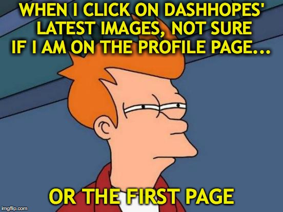 Super Memes | WHEN I CLICK ON DASHHOPES' LATEST IMAGES, NOT SURE IF I AM ON THE PROFILE PAGE... OR THE FIRST PAGE | image tagged in memes,futurama fry,dashhopes | made w/ Imgflip meme maker