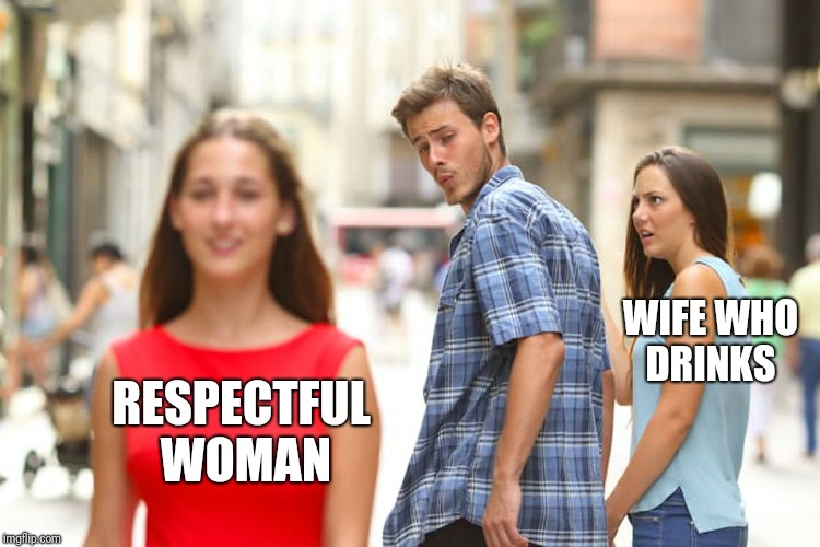 Distracted Boyfriend Meme | RESPECTFUL WOMAN WIFE WHO DRINKS | image tagged in memes,distracted boyfriend | made w/ Imgflip meme maker