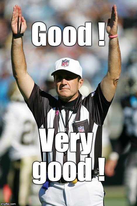 TOUCHDOWN! | Good ! Very good ! | image tagged in touchdown | made w/ Imgflip meme maker