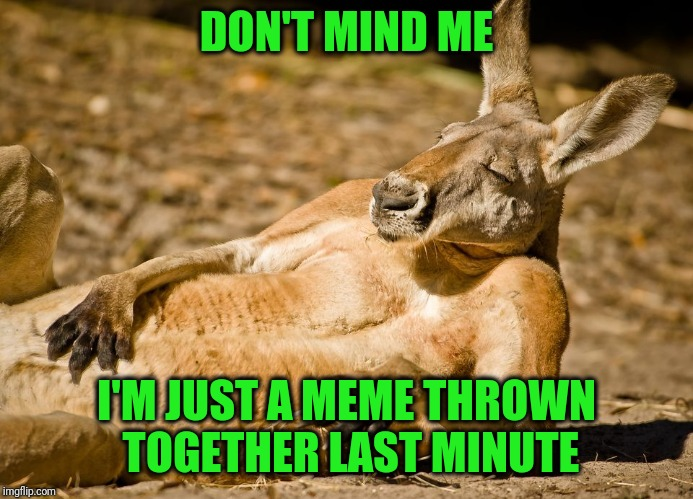 It's been a busy day | DON'T MIND ME I'M JUST A MEME THROWN TOGETHER LAST MINUTE | image tagged in relaxed dude | made w/ Imgflip meme maker