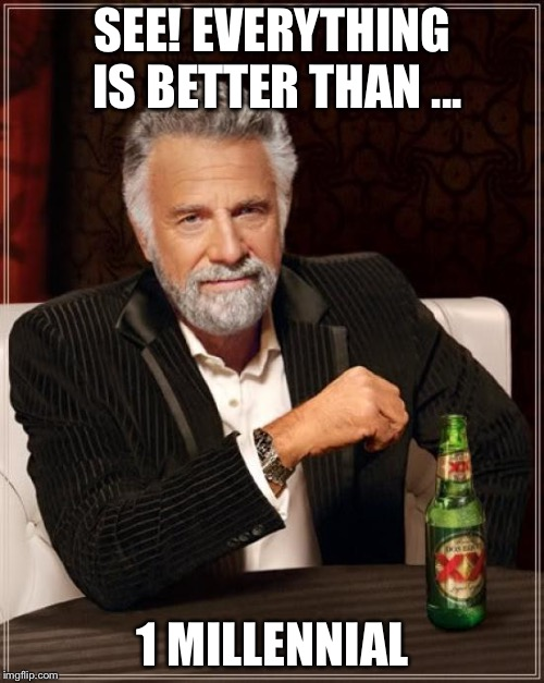 The Most Interesting Man In The World Meme | SEE! EVERYTHING IS BETTER THAN ... 1 MILLENNIAL | image tagged in memes,the most interesting man in the world | made w/ Imgflip meme maker