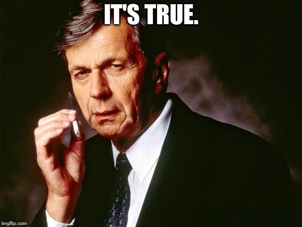 Cigarette Smoking Man | IT'S TRUE. | image tagged in cigarette smoking man | made w/ Imgflip meme maker