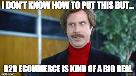 I DON'T KNOW HOW TO PUT THIS BUT... B2B ECOMMERCE IS KIND OF A BIG DEAL | image tagged in ron burgundy | made w/ Imgflip meme maker