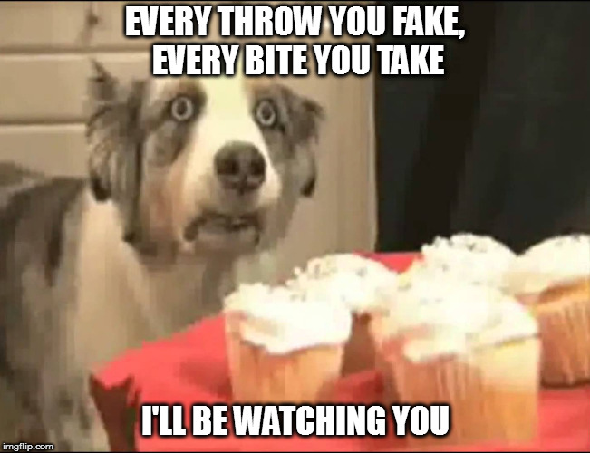 EVERY THROW YOU FAKE, EVERY BITE YOU TAKE I'LL BE WATCHING YOU | made w/ Imgflip meme maker