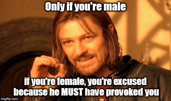 One Does Not Simply Meme | Only if you're male if you're female, you're excused because he MUST have provoked you | image tagged in memes,one does not simply | made w/ Imgflip meme maker