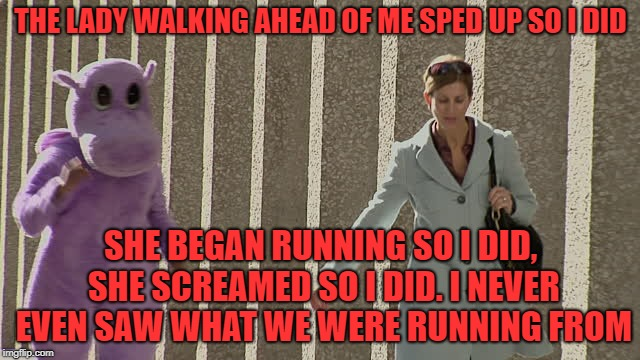 Run for your life | THE LADY WALKING AHEAD OF ME SPED UP SO I DID SHE BEGAN RUNNING SO I DID, SHE SCREAMED SO I DID. I NEVER EVEN SAW WHAT WE WERE RUNNING FROM | image tagged in memes,funny,your mom,never give up | made w/ Imgflip meme maker