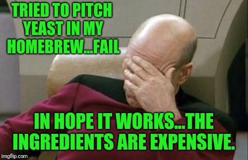Homebrew Fail | TRIED TO PITCH YEAST IN MY HOMEBREW...FAIL IN HOPE IT WORKS...THE INGREDIENTS ARE EXPENSIVE. | image tagged in memes,captain picard facepalm | made w/ Imgflip meme maker