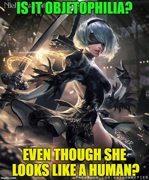 Shes a robot... | IS IT OBJETOPHILIA? EVEN THOUGH SHE LOOKS LIKE A HUMAN? | image tagged in funny,memes,nier automata | made w/ Imgflip meme maker