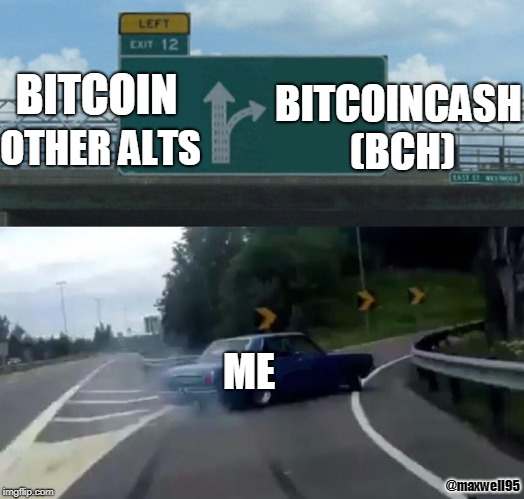 Left Exit 12 Off Ramp Meme | BITCOIN OTHER ALTS BITCOINCASH (BCH) ME @maxwell95 | image tagged in memes,left exit 12 off ramp | made w/ Imgflip meme maker