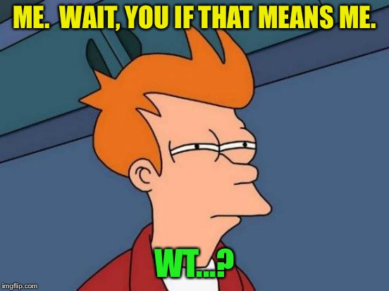 Futurama Fry Meme | ME.  WAIT, YOU IF THAT MEANS ME. WT...? | image tagged in memes,futurama fry | made w/ Imgflip meme maker