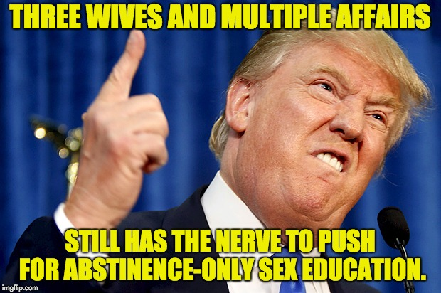 Donald Trump | THREE WIVES AND MULTIPLE AFFAIRS STILL HAS THE NERVE TO PUSH FOR ABSTINENCE-ONLY SEX EDUCATION. | image tagged in donald trump,stormy daniels,hypocrisy,abstinence | made w/ Imgflip meme maker